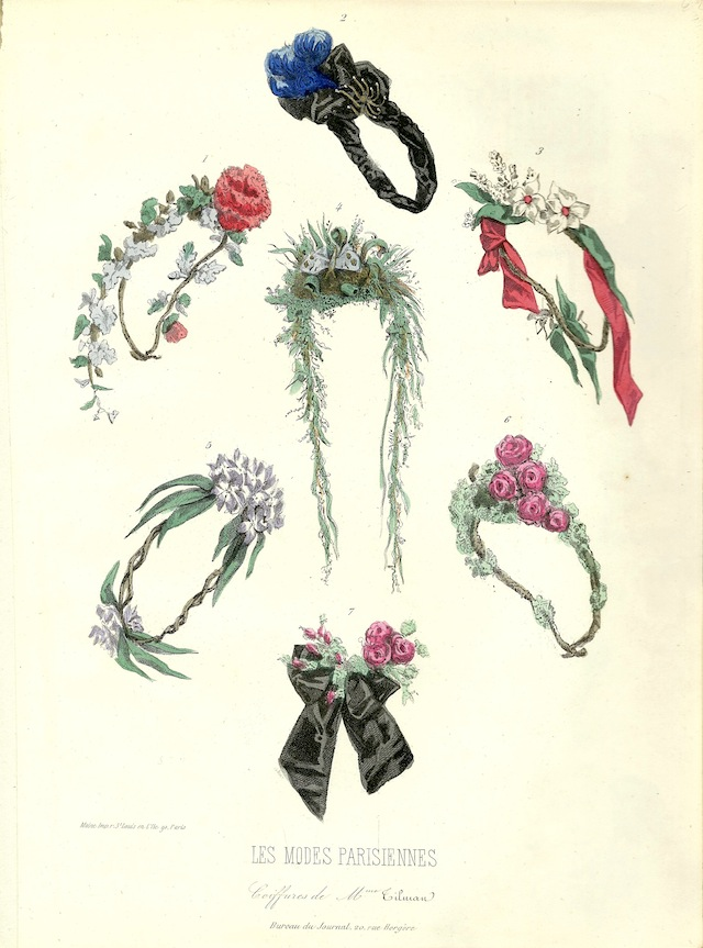 flower wreaths and a fashion plate from the period that tested positive for arsenical pigments that I own. The second plate is framed and hung on the wall with the green dress. They all date to ca.1860-1865