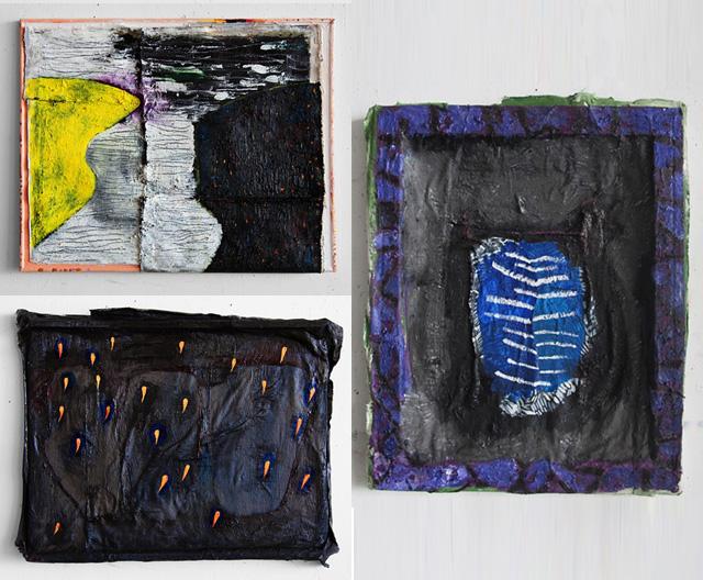 "Close-ups of three of Yevgenya Baras's "" Untitled"" (2014) paintings"