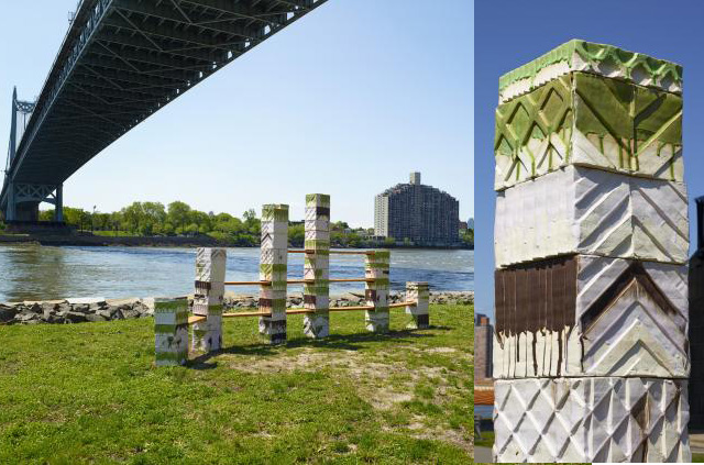 """Left, """"Untitled Folly"""" (2014) on Randall's Island shortly after it was installed last month; and, right, a detail of the sculpture after it was unveiled on May 18."""