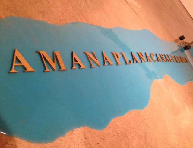 "Luis Camnitzer, ""Amanaplanacanalpanama"" (detail) (1995), mixed media installation"