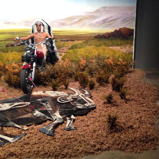 """Kent Monkman, """"Bête Noire"""" (2014), acrylic on canvas with sculpture installation"""
