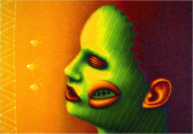 """ED PASCHKE  """"Collier à Trois""""  24"""" by 36""""  oil_canvas  1998  COPYRIGHT- THE ESTATE OF ED PASCHKE.  COURTESY- MARY BOONE GALLERY, NEW YORK."""