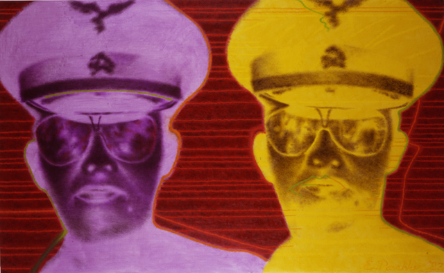 """ED PASCHKE  """"Sauganash""""  46"""" by 74""""  oil_canvas  1983  COPYRIGHT- THE ESTATE OF ED PASCHKE.  COURTESY- MARY BOONE GALLERY, NEW YORK."""
