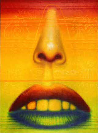"""ED PASCHKE  """"The Surface""""  48"""" by 36""""  oil_canvas  1992  COPYRIGHT- THE ESTATE OF ED PASCHKE.  COURTESY- MARY BOONE GALLERY, NEW YORK."""
