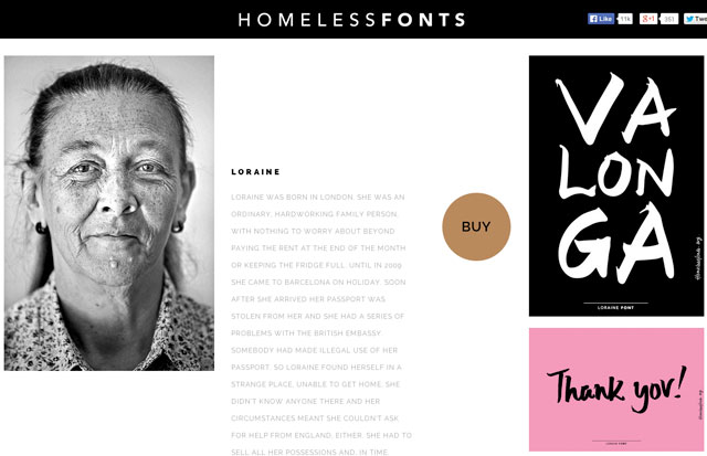 Loraine's page on Homeless Fonts, with her typeface in use on the right (via homelessfonts.org)