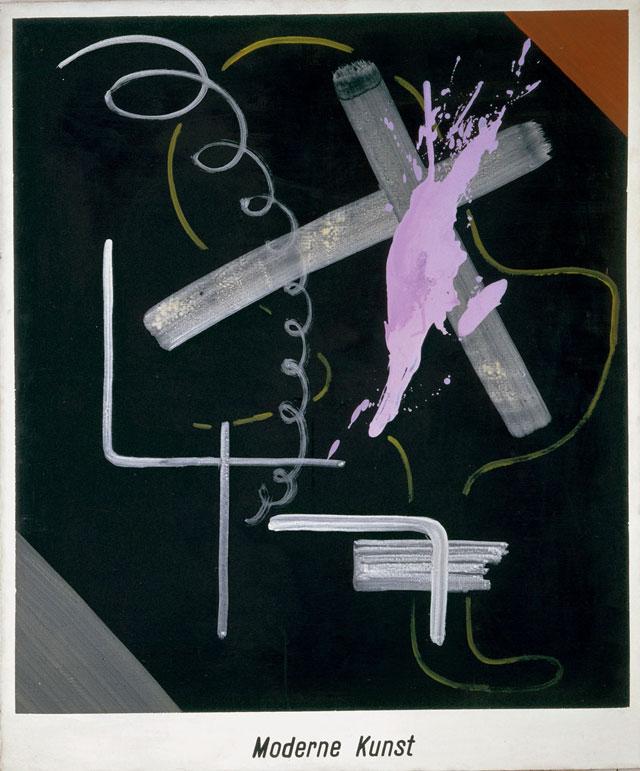 "Sigmar Polke, ""Modern Art (Moderne Kunst)"" (1968), acrylic and lacquer on canvas, 59 1/16 x 49 3/16″ (150 x 125 cm), Froehlich Collection, Stuttgart (© 2014 Estate of Sigmar Polke / Artists Rights Society [ARS], New York / VG Bild-Kunst, Bonn)"