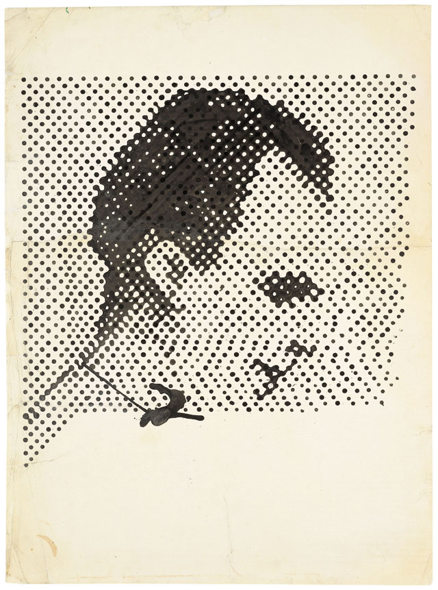 """Sigmar Polke, """"Raster Drawing (Portrait of Lee Harvey Oswald) (Rasterzeichnung [Porträt Lee Harvey Oswald])"""" (1963), poster paint and pencil on paper, 37 5/16 × 27 1/2″ (94.8 × 69.8 cm), Private Collection (photo by Wolfgang Morell, Bonn, © 2014 Estate of Sigmar Polke / Artists Rights Society [ARS], New York / VG Bild-Kunst, Bonn) (click to enlarge)"""