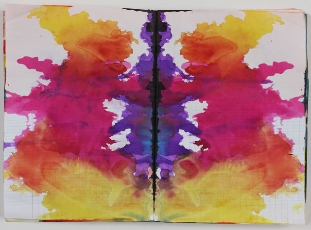 """Sigmar Polke, """"Untitled (Rorschach) (Ohne Titel [Rorschach[)"""" (c. 1999),  colored ink in bound notebook, 192 pgs, each: 11 5⁄8 x 8 1⁄16″ (29.5 x 20.5 cm), Private Collection (photo by Alistair Overbruck, © 2014 Estate of Sigmar Polke / Artists Rights Society (ARS), New York / VG Bild-Kunst, Bonn)"""