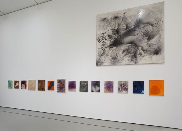 "Installation view, 'Alibis: Sigmar Polke 1963–2010,' Museum of Modern Art, April 19–August 3, 2014, with ""Velocitas-Firmitudo"" (1986) at top left (© 2014 The Museum of Modern Art, photo by Jonathan Muzikar) (all works by Sigmar Polke © 2014 The Estate of Sigmar Polke / Artists Rights Society [ARS], New York / VG Bild-Kunst, Bonn, Germany) (click to enlarge)"