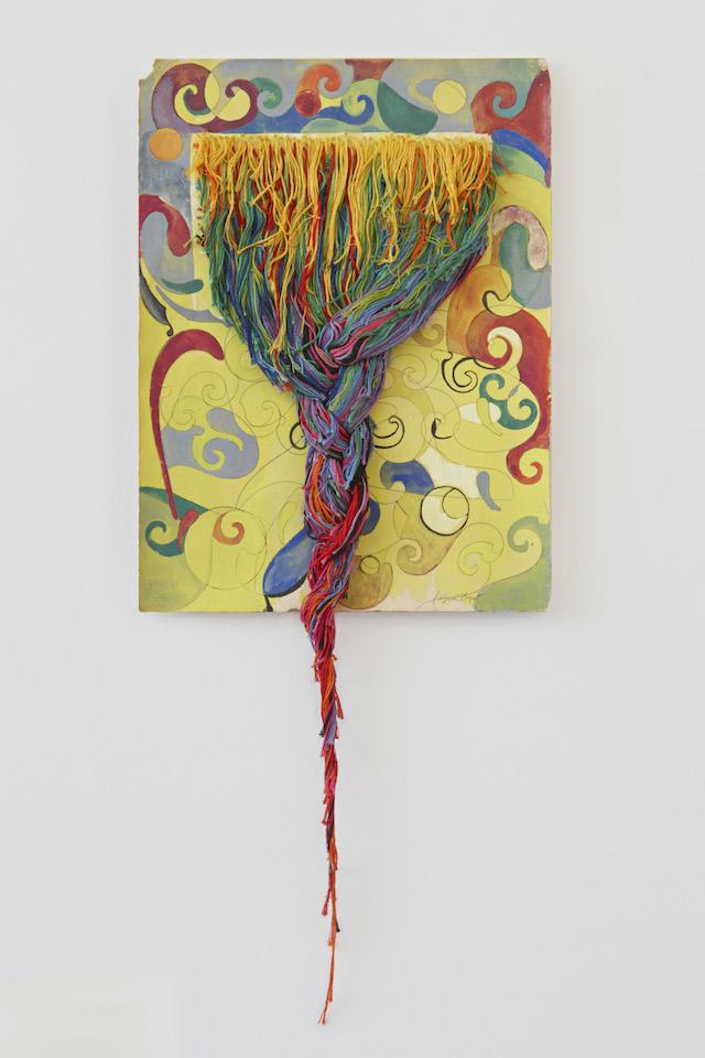 Regina Bogat_Threaded Piece 3_c 1973_Goauche, graphite, threads on paper_26x11_hi res