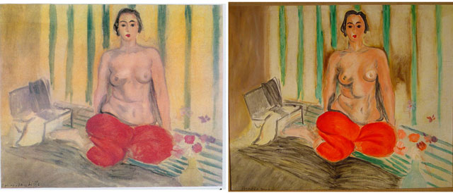 """Left: Henri Matisse, """"Odalisque in Red Pants""""; right: the fake version of the work that thieves hng at Museum of Contemporary Art of Caracas (image via artdaily.com)"""