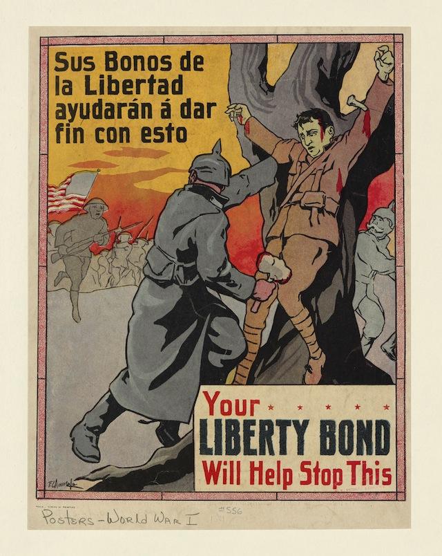 Your Liberty Bond Will Help Stop This—Sus bonos de la libertad ayudarán á dar fin con esto. F. C. Amorsolo. Manila: Bureau of Printing, 1917. The New York Public Library, Picture Collection. (courtesy of the New York Public Library)