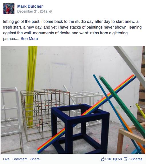 Facebook post from December 31, 2012 (via Facebook/MarkDutcher)