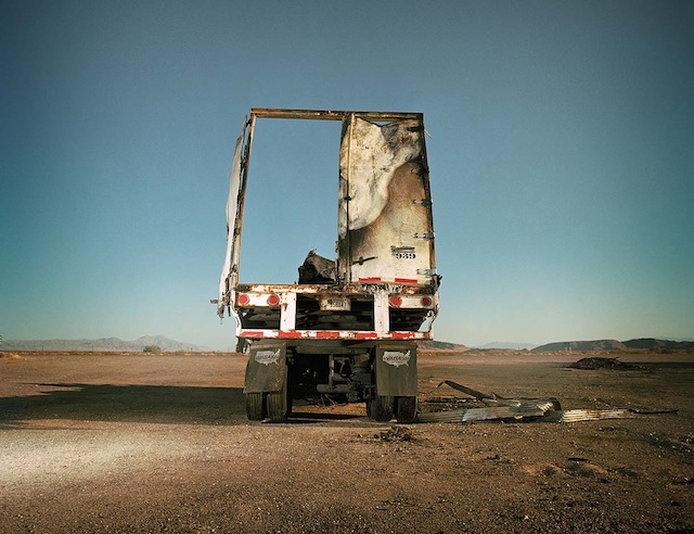 "Pamela Littky, ""Burned Out Truck, Baker, California,"" from ""Vacancy"" (all photographs courtesy the artist and Kehrer)"
