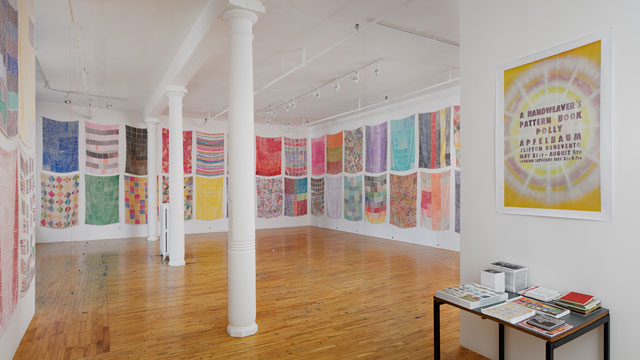 Installation view, 'Polly Apfelbaum: A Handweaver's Pattern Book,' Clifton Benevento, New York, 2014 (all photos by Andres Ramirez, courtesy the artist and Clifton Benevento, New York)