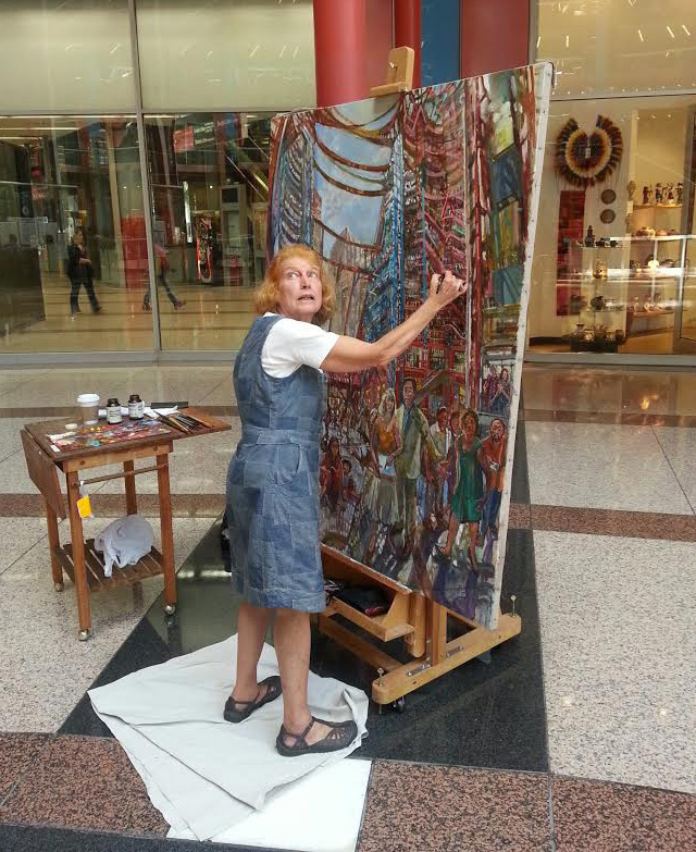 Audrey Ushenko working on her current painting out in public (all images by the author for Hyperallergic)