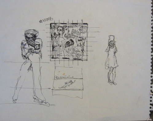 """David Bowie, """"Gasmask Sketch"""" (1979) (© the David Bowie Archive) (click to enlarge)"""