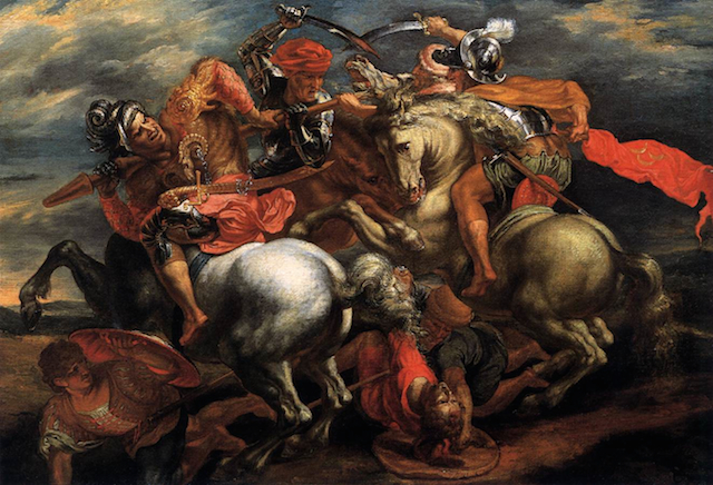 "Peter Paul Rubens, ""Battle for the Flag"" (1602-05), oil on canvas, 83 x 117 cm. Akademie der bildenden Künste, Vienna. (Image via Web Gallery of Art)"