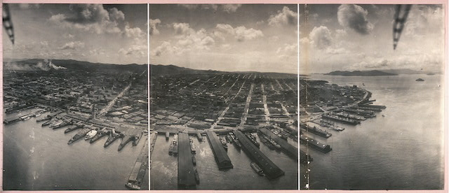 George R. Lawrence, San Francisco from Captive Air Ship over San Francisco Bay (with the stabilizers visible) (1908) (via Library of Congress)
