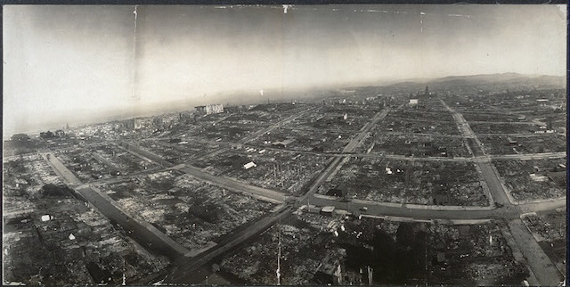 George R. Lawrence, San Francisco in ruins, from 500 feet above Hyde & Green streets (1906) (via Library of Congress)