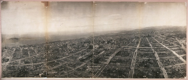 George R. Lawrence, San Francisco in ruins from 1,500 feet, with Nob Hill in the foreground (1906) (via Library of Congress)