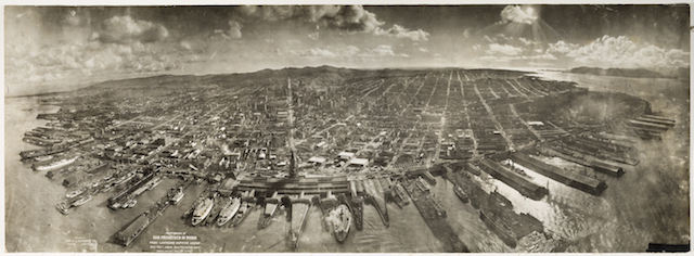 Panorama of the ruins of San Francisco, California after the earthquake in 1906. Photograph was taken by the George R. Lawrence Captive Airship.