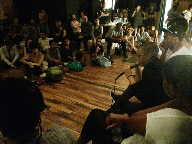 Hyperallergic's ArtTalk with the Yams Collective (photo by Hrag Vartanian/Hyperallergic)