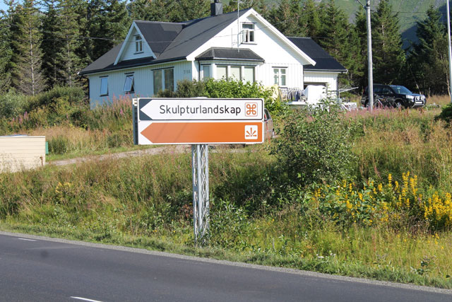 Road sign for Artscape Nordland (all photos by the author for Hyperallergic)