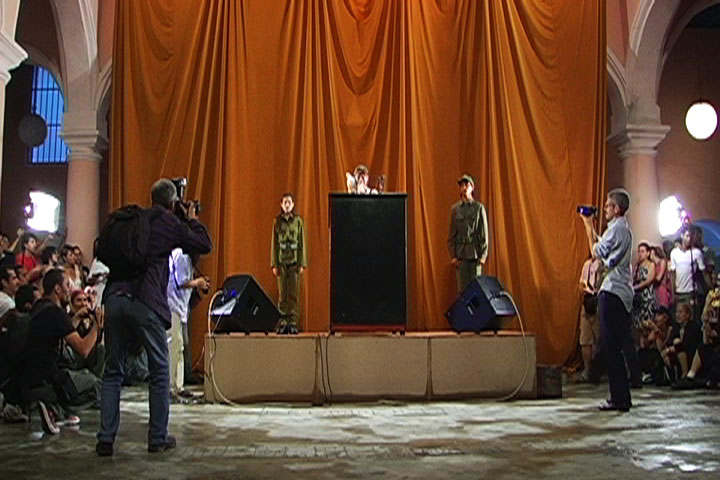 """Tania Bruguera, """"Tatlin's Whisper #6 (Havana Version)"""" (2009), color video, with sound, 60 min, from a mixed media installation, Solomon R. Guggenheim, New York, Guggenheim UBS MAP Purchase Fund (© Tania Bruguera)"""