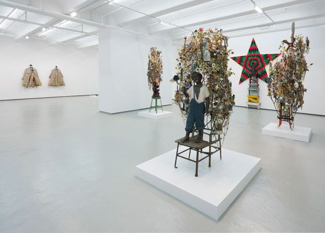 Installation view, 'Nick Cave: Made for Whites by Whites' at Jack Shainman Gallery (photo by James Prinz, courtesy the artist and Jack Shainman Gallery, New York)