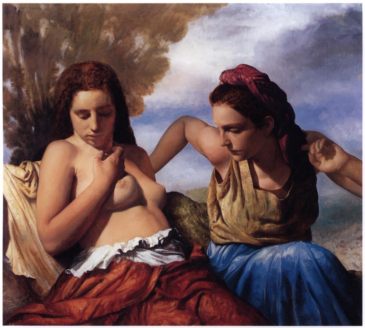 "Edward Schmidt, ""Conversation (Diana and Callisto)"" (2003), oil on linen, 39 x 43 inches"