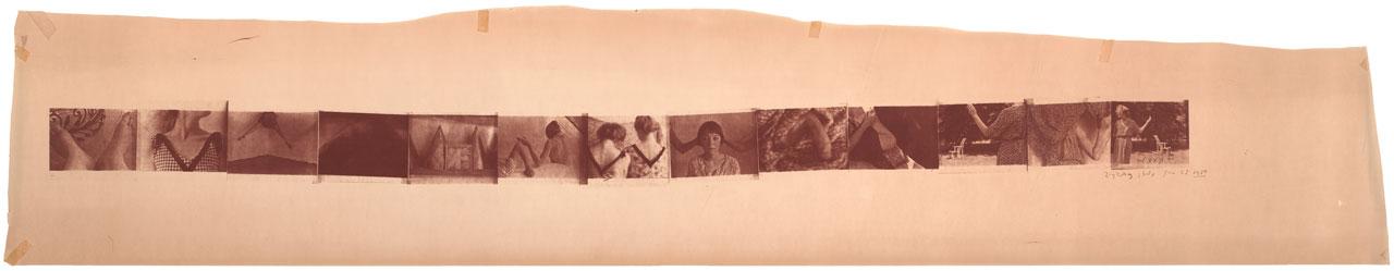 "Francesca Woodman, ""Zig Zag Study, New York"" (1980), archival pigment estate print, 14.25 x 75.5 cm (5 5/8 x 29 3/4 in) (all images  © The Estate of Francesca Woodman, courtesy George and Betty Woodman, and Victoria Miro, London)"