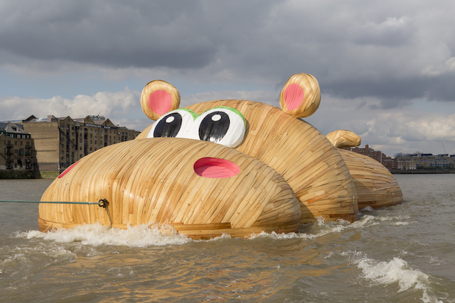 """Florentijn Hofman, """"HippopoThames"""" (2014). The work was towed along the Thames river in London earlier this week. Hofman is best known for his """"Rubber Duck"""" sculpture which made international headlines last year (photo by Steve Sills. Courtesy Four Colman Getty)"""