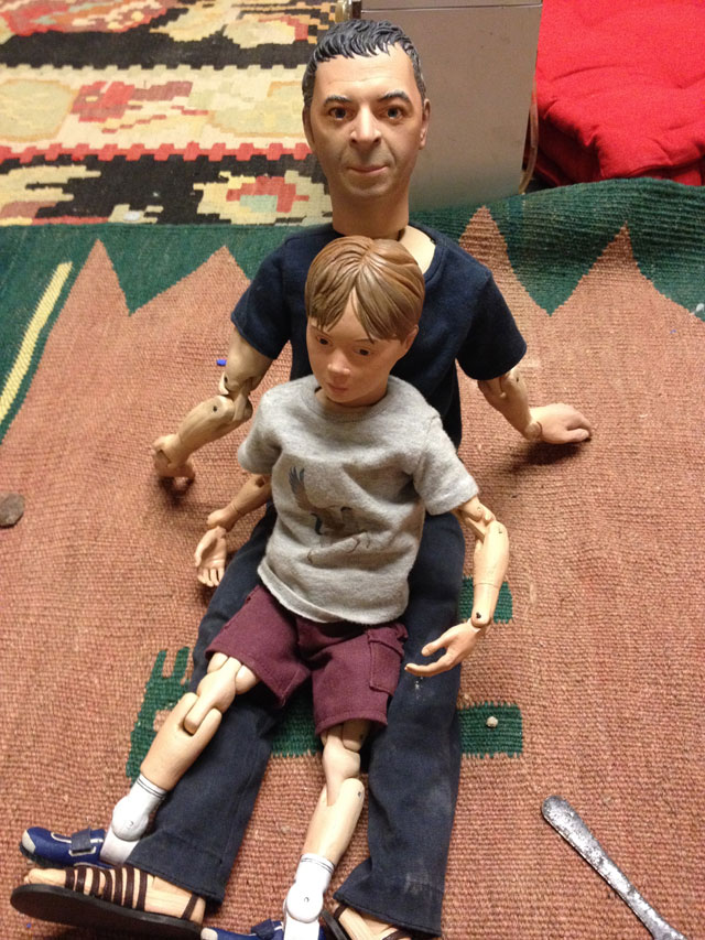 Pawel Althamer's dolls of himself and his son (click to enlarge)