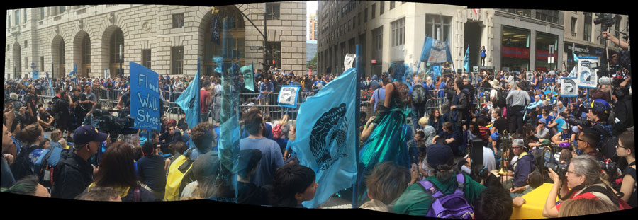 Panorama of the corner of Morris and Broadway (photo by Hrag Vartanian/Hyperallergic) (click to enlarge)