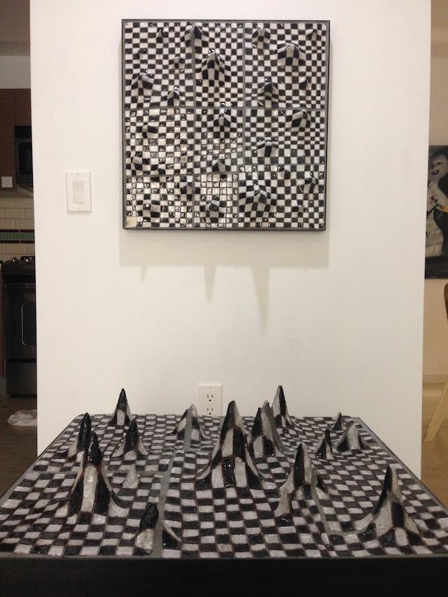 """Liz Craft, """"Checkerboard Mountains"""" (2010/2013), ceramic, steel"""