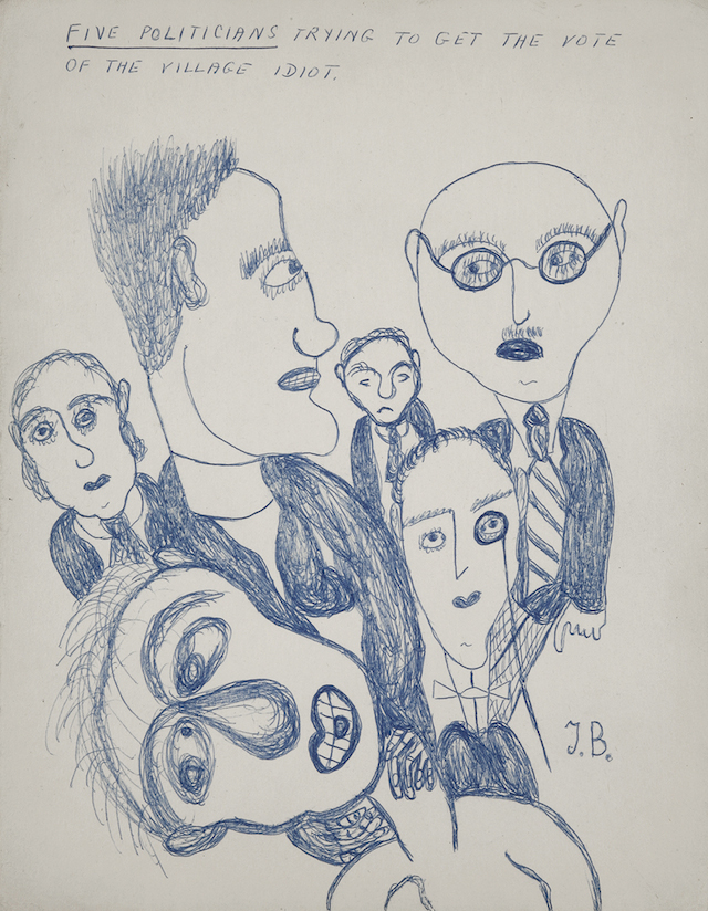 """Jack Bilbo, """"Five Politicians Trying to Get the Vote of the Village Idiot"""" (date unknown), blue ink on paper, 14 x 11 inches (courtesy of the Jack Bilbo Estate and England & Co.)"""
