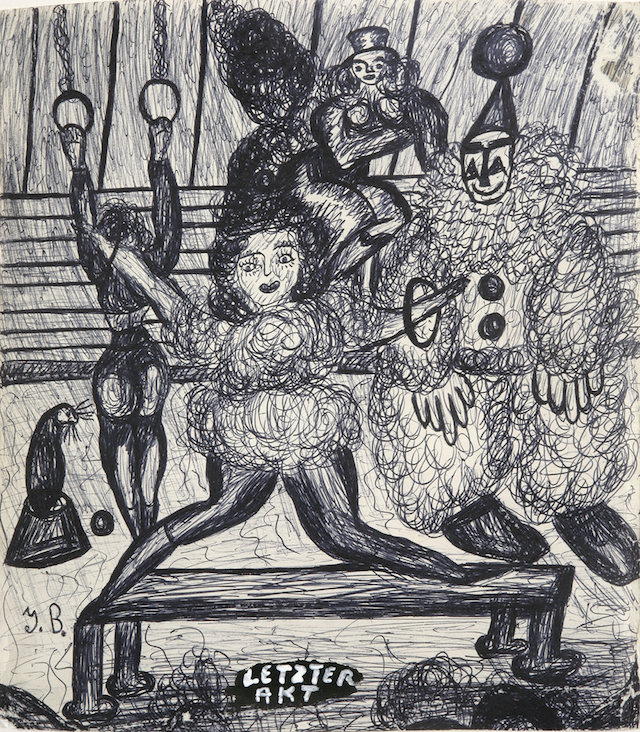 """Jack Bilbo, """"Letzter Akt (Last Act)"""" (circa 1946), ink on paper, 11 1/2 x 10 2/5 inches, courtesy of the Jack Bilbo Estate and England & Co."""