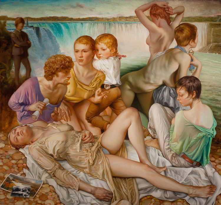 "Jamie Adams, ""Niagradown"" (2013), oil on linen, 78 x 83 inches"
