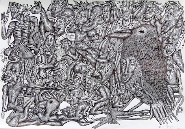 """Jan Arden, """"The Sacred Crow"""" (2014), ink on paper, dimensions variable (courtesy of Outside In/Pallant House Gallery, Chichester)"""
