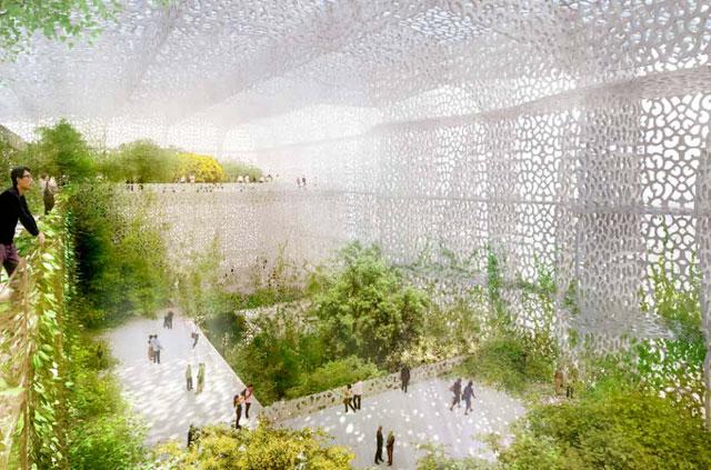 Jean Nouvel, rendering of NAMOC's interior garden in summer