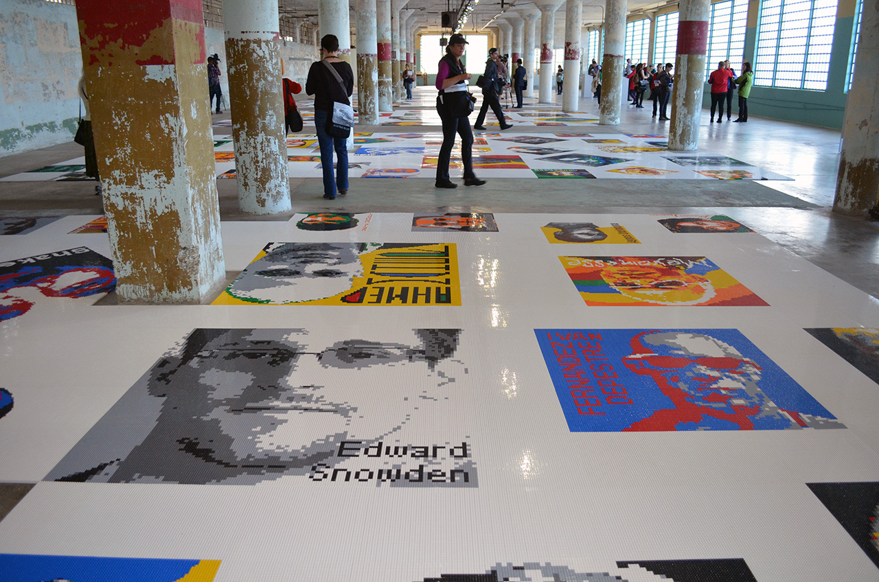 """A view of Ai Weiwei's """"Traces"""" (2014) at @Large: Ai Weiwei in Alcatraz (all photos by the author for Hyperallergic)"""