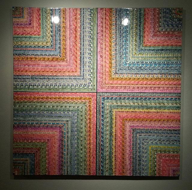 "Jordan Scott, ""Vortex"" (2013), US postage stamps and resin on canvas, 60"" x 60"""