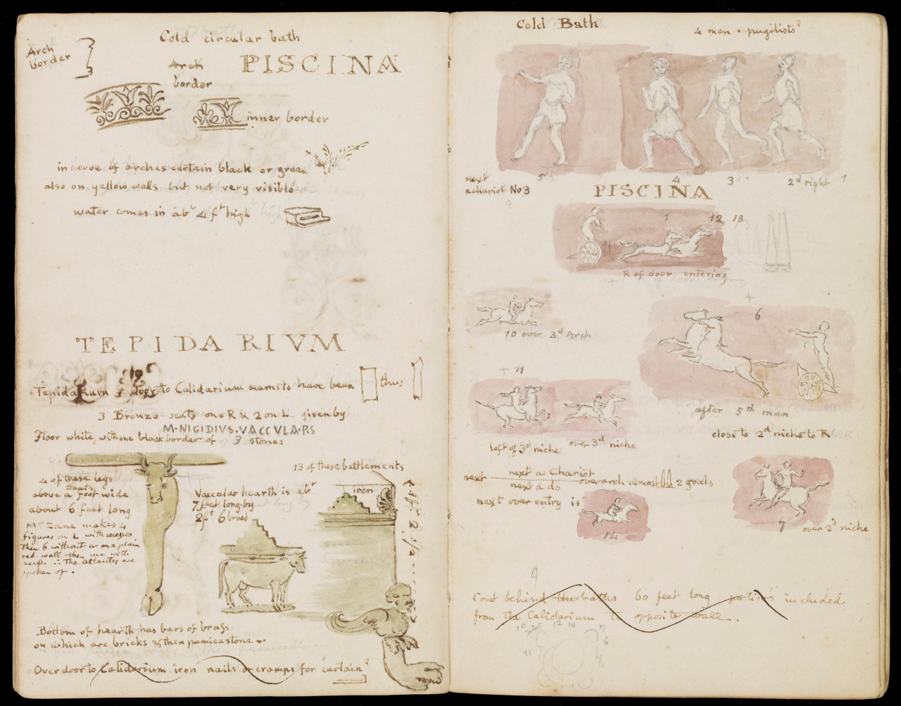 Illustration from Sir William Gell's 1830 Pompeii sketchbook (via Getty Research Institute)