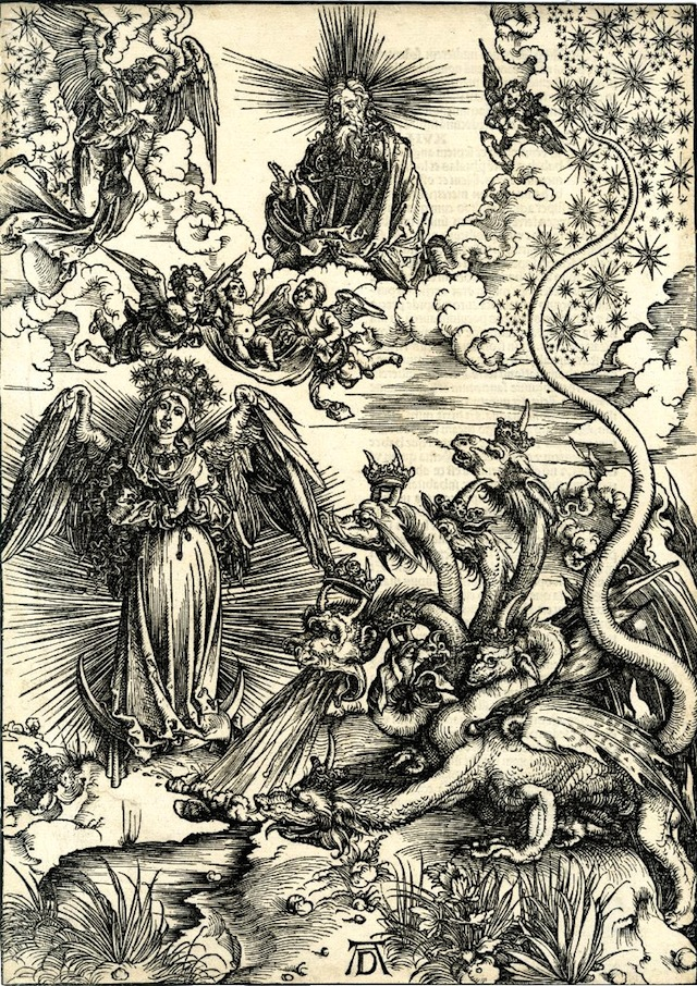 The woman of the Apocalypse and the seven-headed dragon (1498) (via British Museum)