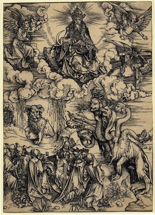 The beast with the lamb's horns and the beast with seven heads (1498) (via British Museum)
