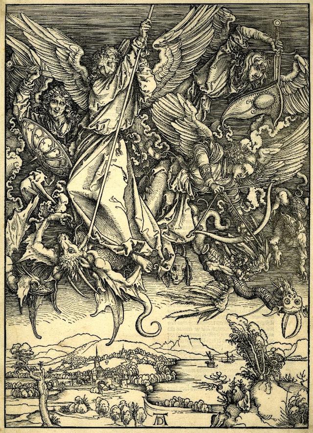 St Michael fighting the Dragon (1498) (via British Library)