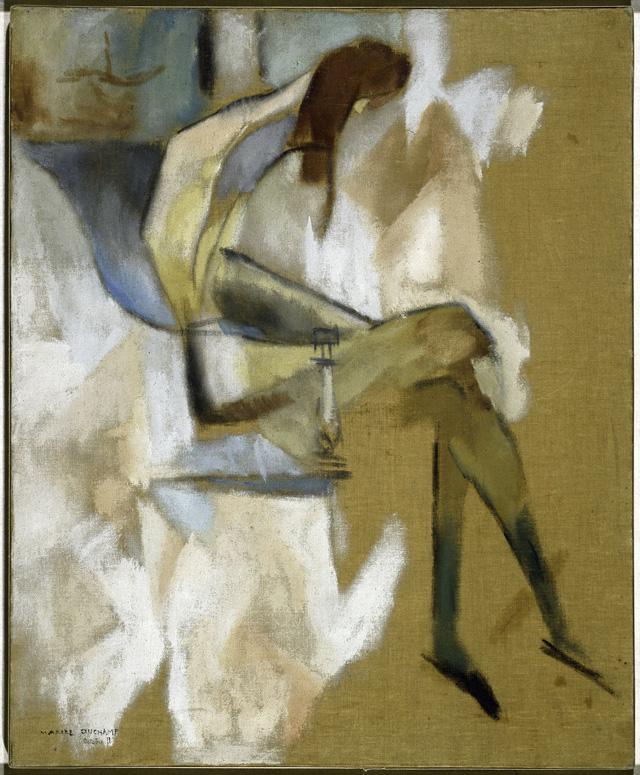 """""""À propos de jeune soeur"""" (1911) huile sur toile, 73 x 60 cm Solomon R. Guggenheim Museum, New York © The Solomon R. Guggenheim Foundation / Art Resource, NY, Dist. RMN – Grand Palais © succession Marcel Duchamp / ADAGP, Paris 2014"""