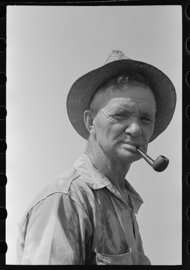 Oil worker that became part of a ditch-digging gang, Seminole, Oklahoma, photograph by Russell Lee (August 1939) (via Photogrammar/Library of Congress)