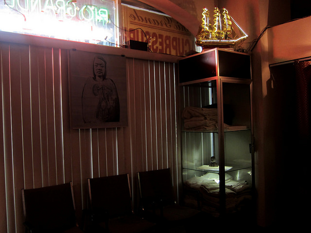 """Prune  Nourry's  """"Imbalance"""" installation in a Chinatown foot-massage parlor"""